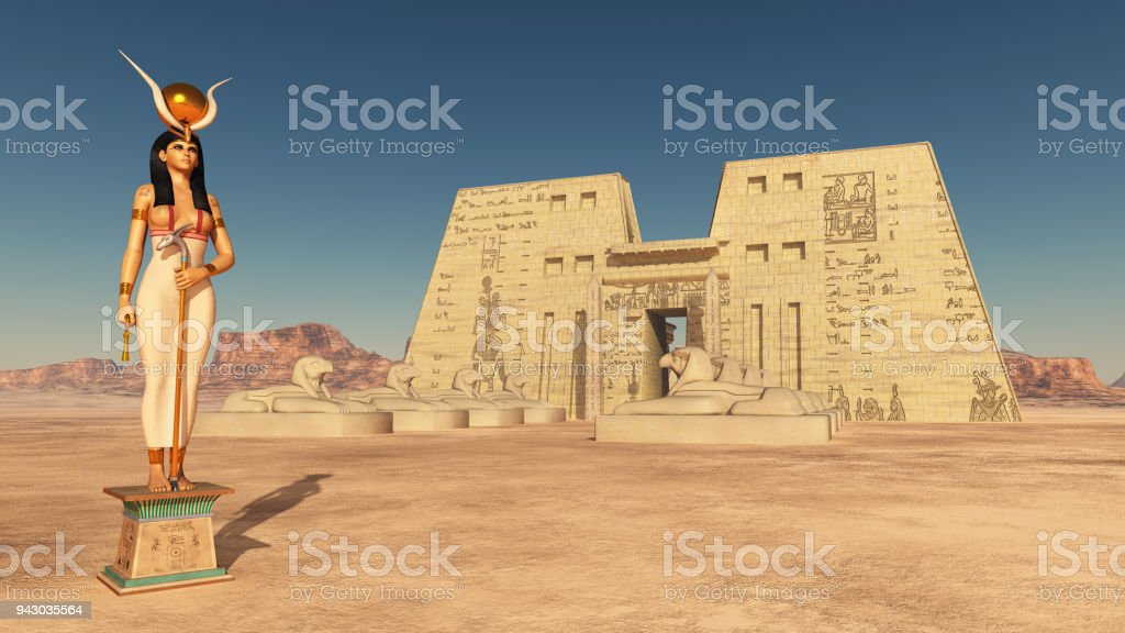 foto de deusa hathor e templo de edfu e mais banco de imagens de