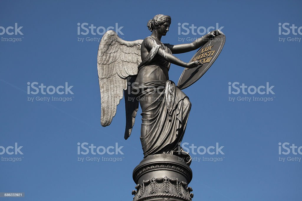 Goddess of Victory. Memorial to the Battle Kulm. stock photo