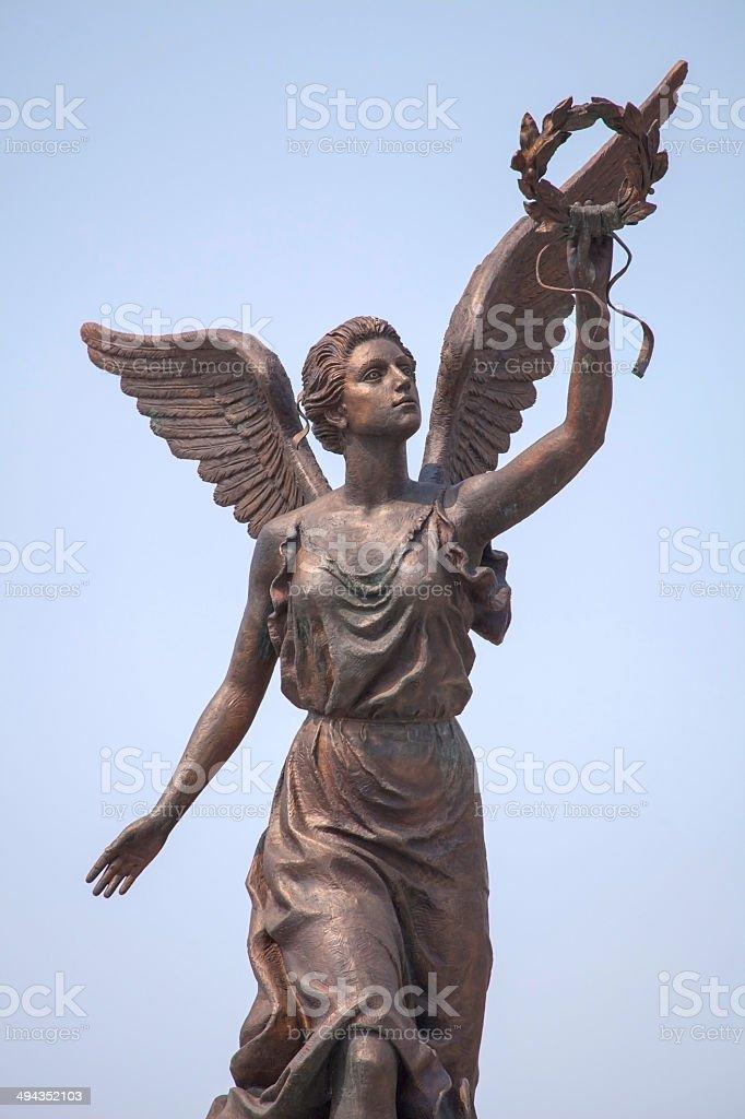 Goddess of victory Nike in Kharkov. stock photo