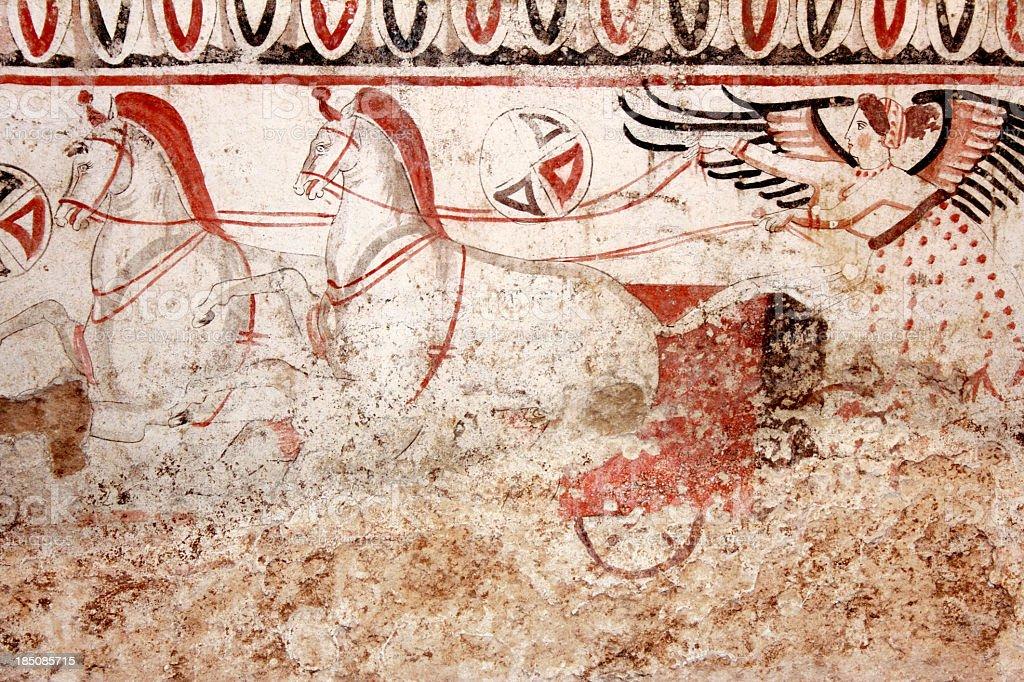Goddess on Chariot  (480-470 B.C.) stock photo