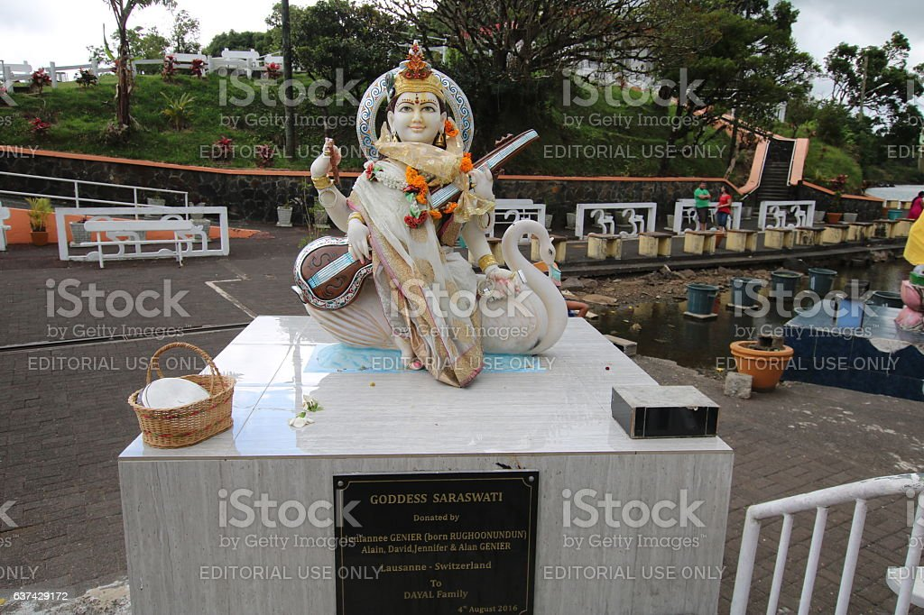 Goddess Saraswati at Grand Bassin, Ganga Talao, Mauritius, Indian Ocean stock photo