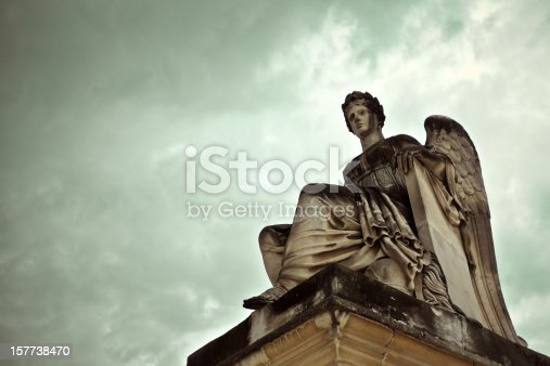 Goddess Statue with Clouds background