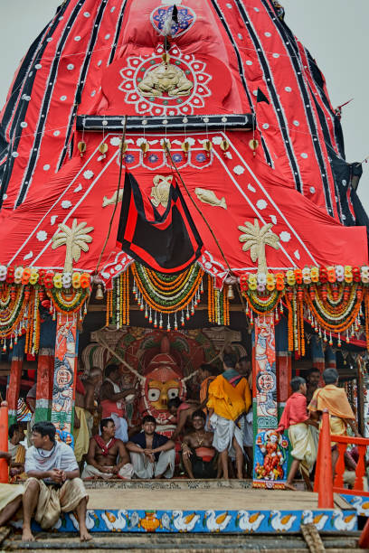 Goddess Subhadra Chariotthe smallest of the chariots canopy color : black and red in Jagannath Rath Yatra puri Orissa