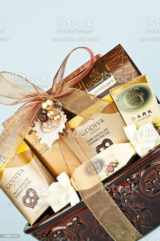Godiva Chocolate Gift Basket Stock Photo More Pictures Of Candy