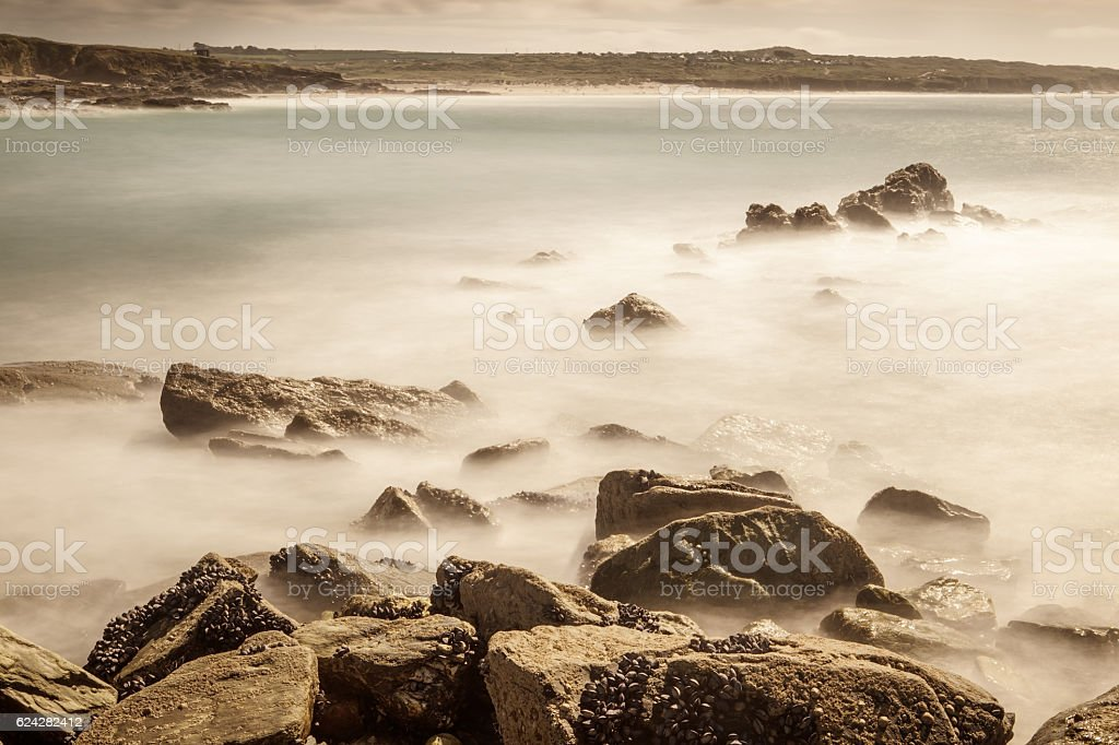 Godrevy beach landscape shot stock photo