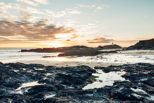 Godrevy coastline and lighthouse near St Ives in Cornwall