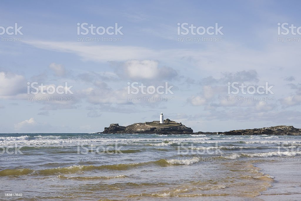Godrevy lighthouse and beach on the north coast of Cornwall royalty-free stock photo