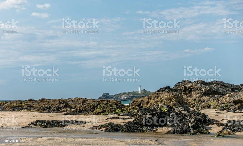 Godrevy lighthouse Cornwall UK. stock photo