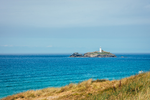 Godrevy Lighthouse near  St Ives Bay beach Cornwall uk in Cornwall