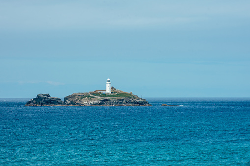 Godrevy Lighthouse near St Ives in Cornwall
