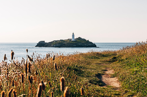 Godrevy lighthouse near St Ives on the coast of Cornwall