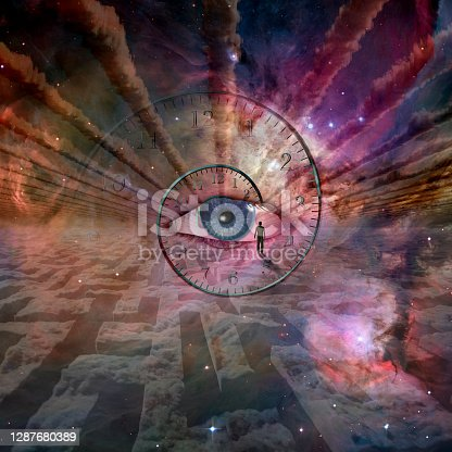 istock Gods eye with abstract background 1287680389