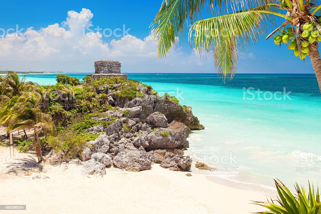Gods of Winds Temple on the beaches of Tulum, Mexico stock photo