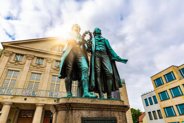 Goethe and Schiller monument in Weimar stock photo