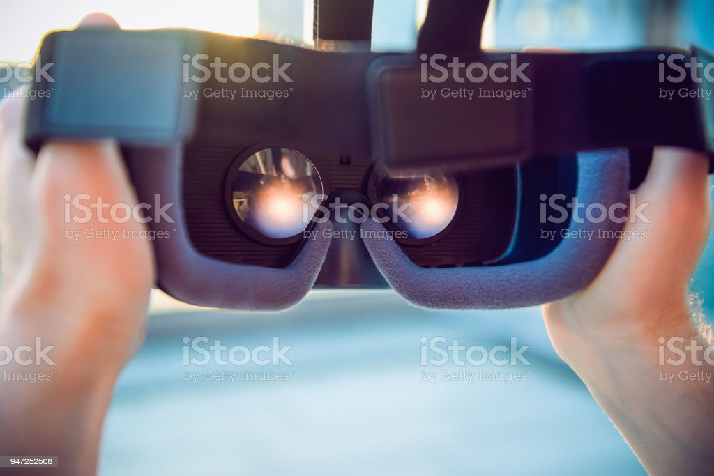 Vr Goggles In Male Hands Man Ready To Wear Virtual Reality Goggles
