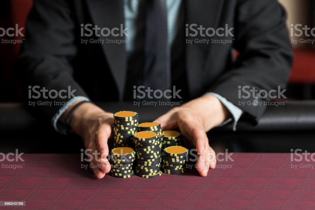 Going all in at a poker game stock photo