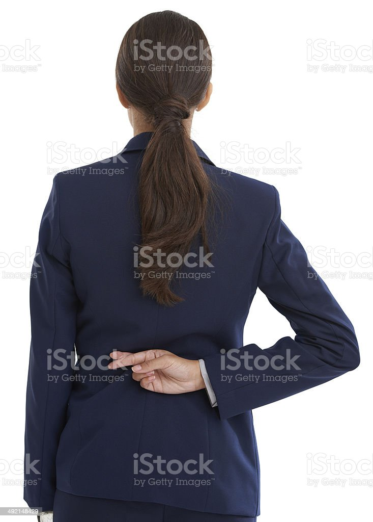 Going back on her word stock photo