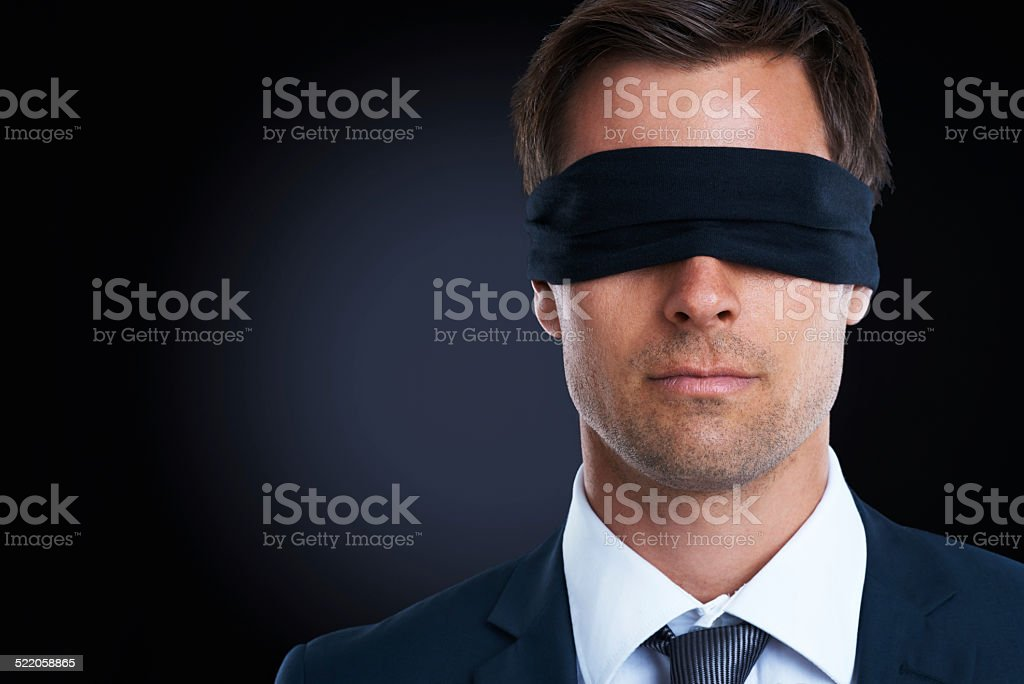 Going blindly into the deal stock photo