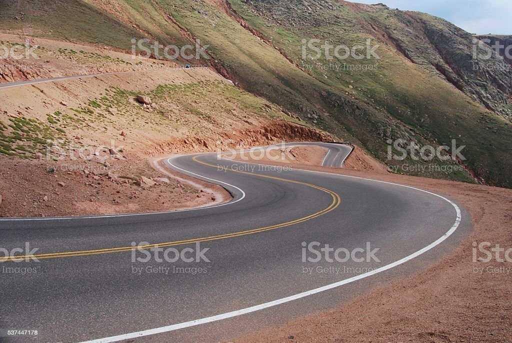 Going down the winding road from Pike's Peak. stock photo
