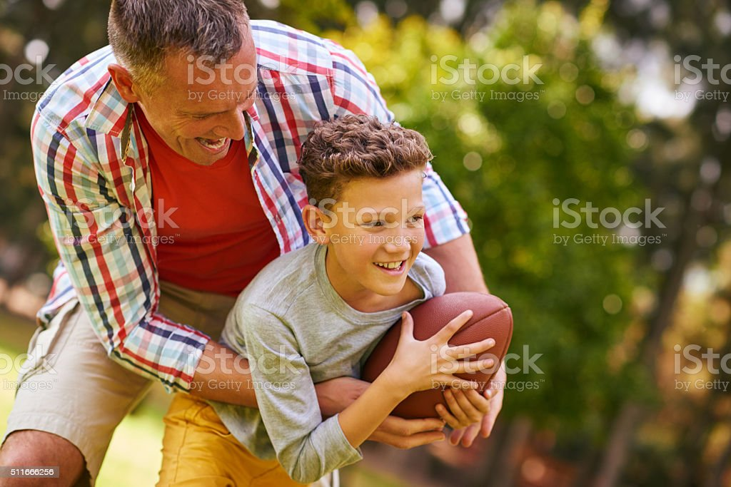 Going for a touchdown! stock photo