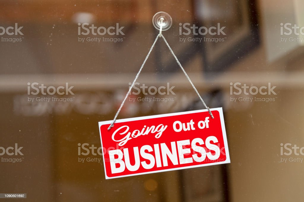 Going out of business - Closed sign stock photo