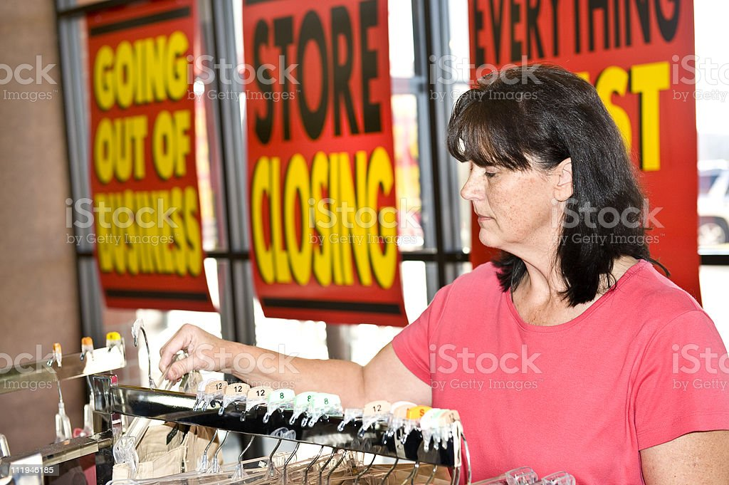 Going Out Of Business Sale Customer stock photo