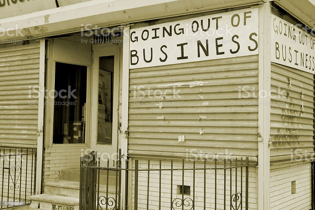 Going out of Business - sepia tone royalty-free stock photo