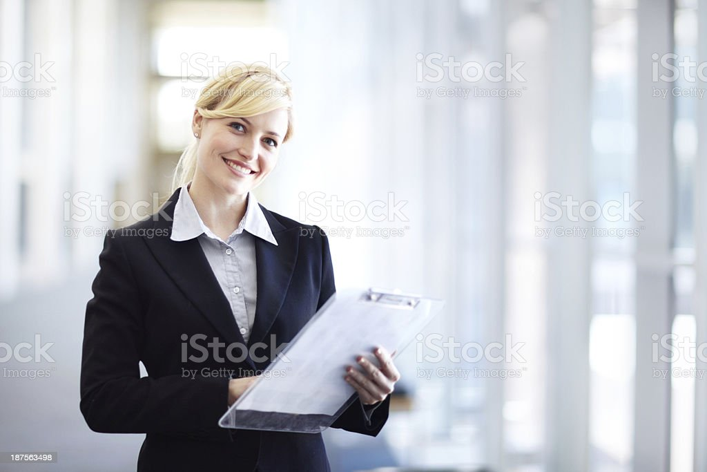 Going over the business roster stock photo