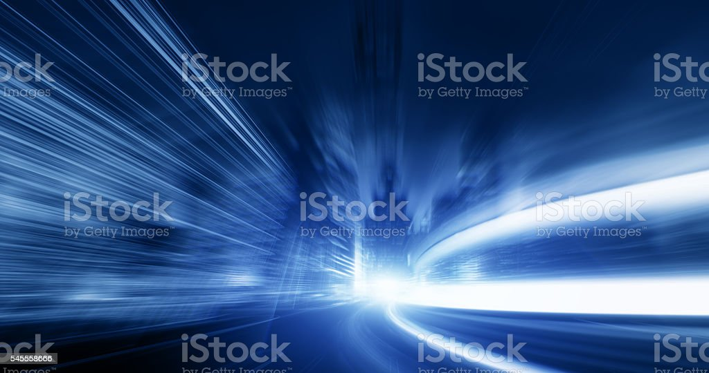 Going Through A street With High Speed stock photo