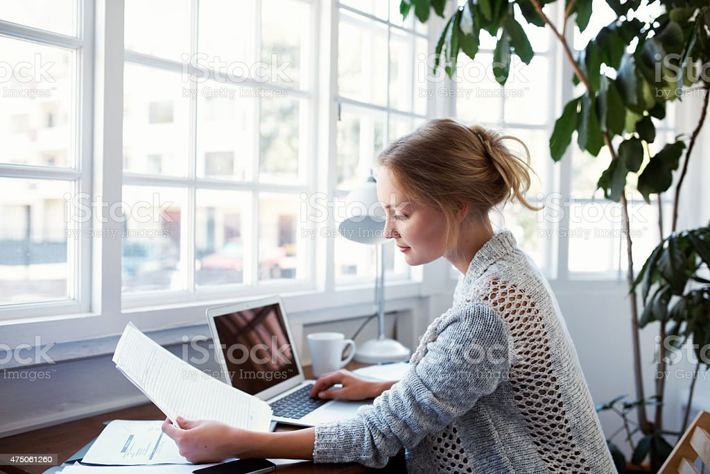 Going through the household finances stock photo