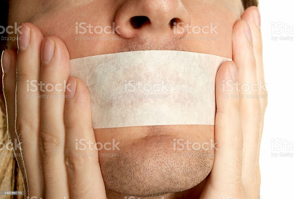 going to keep silence royalty-free stock photo