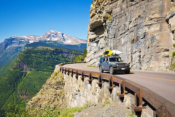 going to the sun road at glacier national park, montana - going to the sun road stock pictures, royalty-free photos & images
