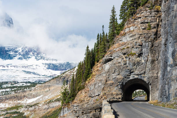 going to the sun road, glacier national park - logan pass stock pictures, royalty-free photos & images