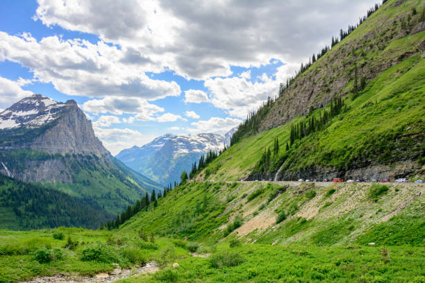 going to the sun road in glacier national park, montana, usa - going to the sun road stock pictures, royalty-free photos & images