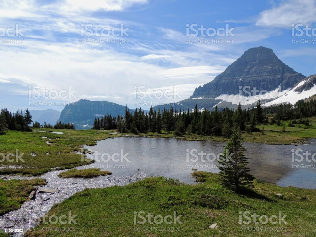 Going to the Sun Road, View of Landscape, snow fields In Glacier National Park around Logan Pass, Hidden Lake, Highline Trail, which features waterfalls, wildlife, and is surrounded by mountains including: Piegan, Pollock, Oberlin, Clements, Reynolds stock photo