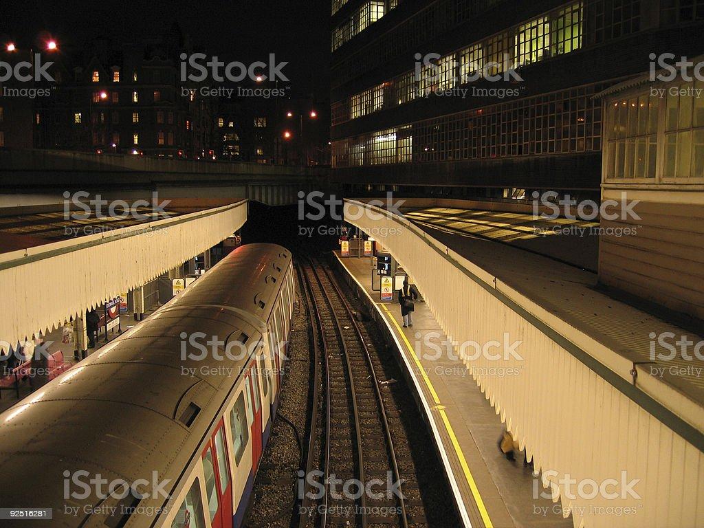 going underground london tube station at night royalty-free stock photo