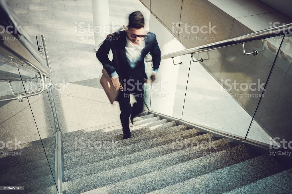 Going upstairs stock photo