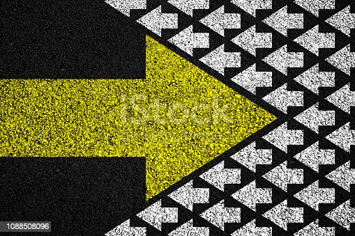 1088508096 istock photo Going your own way on asphalt background 1088508096