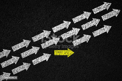 1088508096 istock photo Going your own way on asphalt background 1125969925
