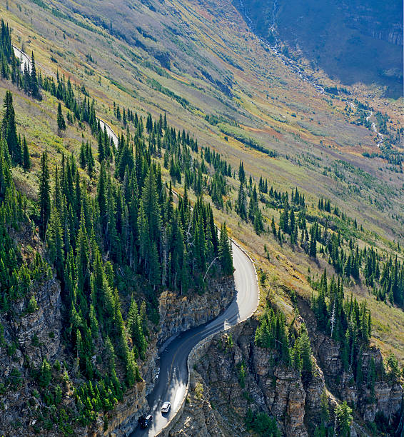 going-to-the-sun-road viewed from highline trail - going to the sun road stock pictures, royalty-free photos & images