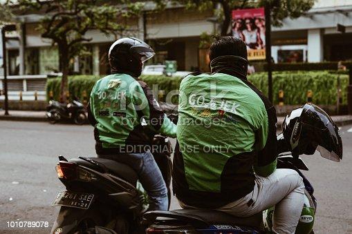 istock Gojek Bike Riders. - Stock image 1010789078