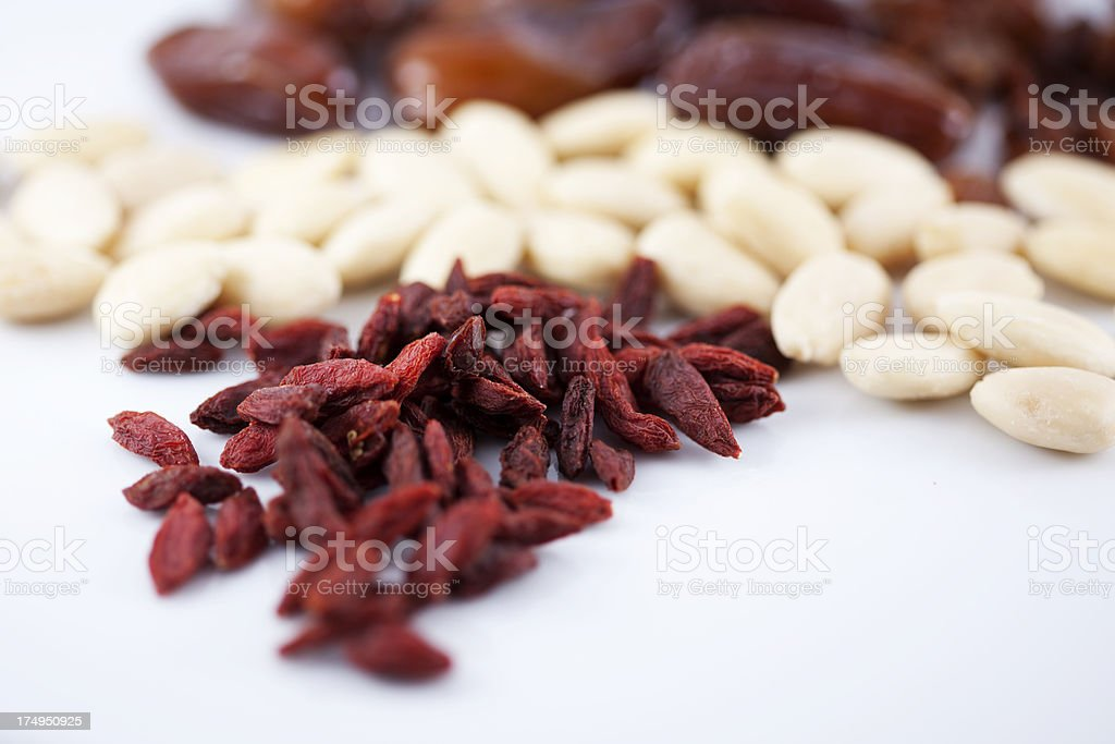 Goji Berries, Almonds and Dates royalty-free stock photo
