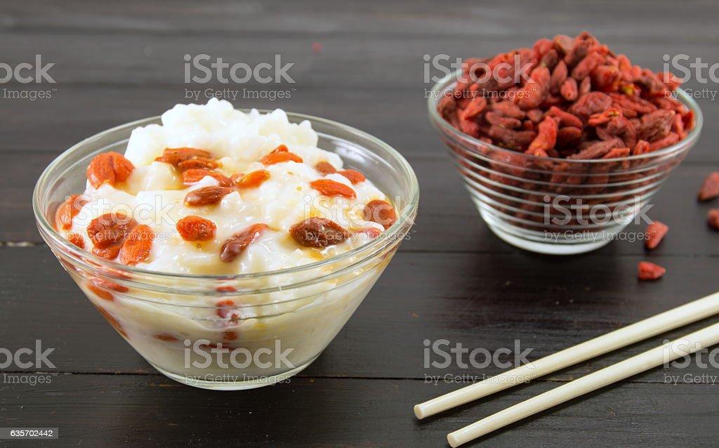 goji berries and rice dessert royalty-free stock photo
