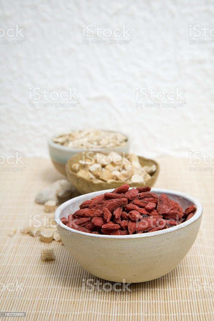 Goji berries, ginseng and ginger. royalty-free stock photo