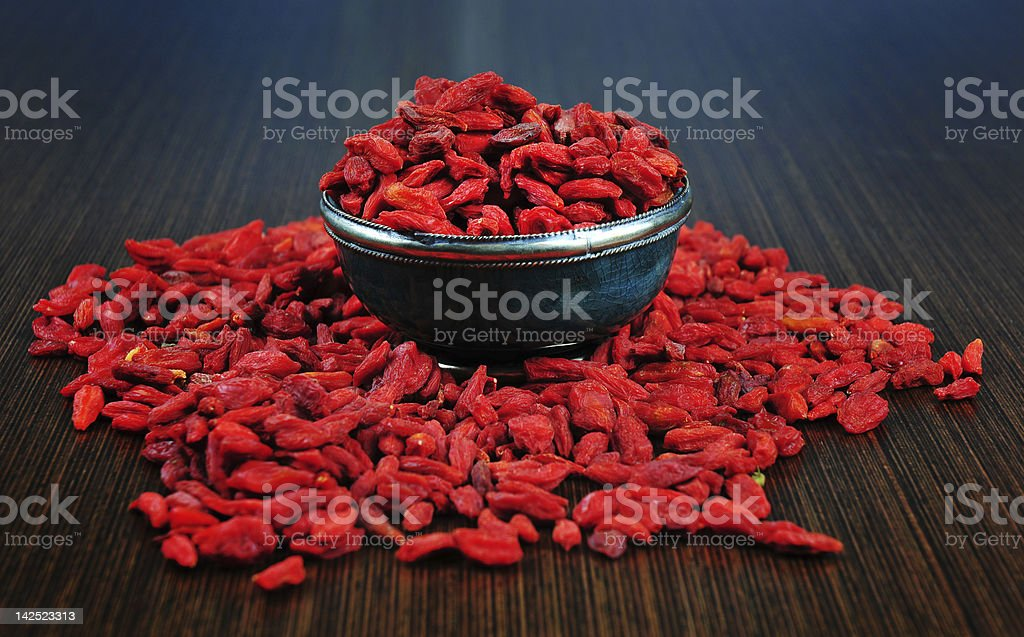 Goji berries in a bowl royalty-free stock photo