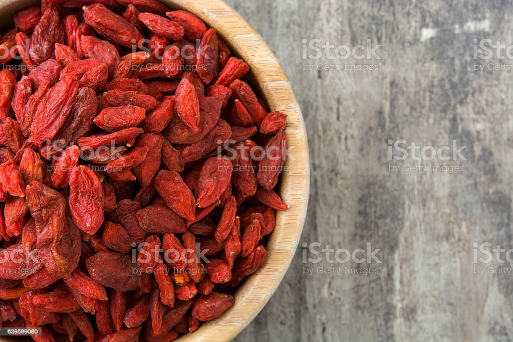 Goji berries in a bowl stock photo