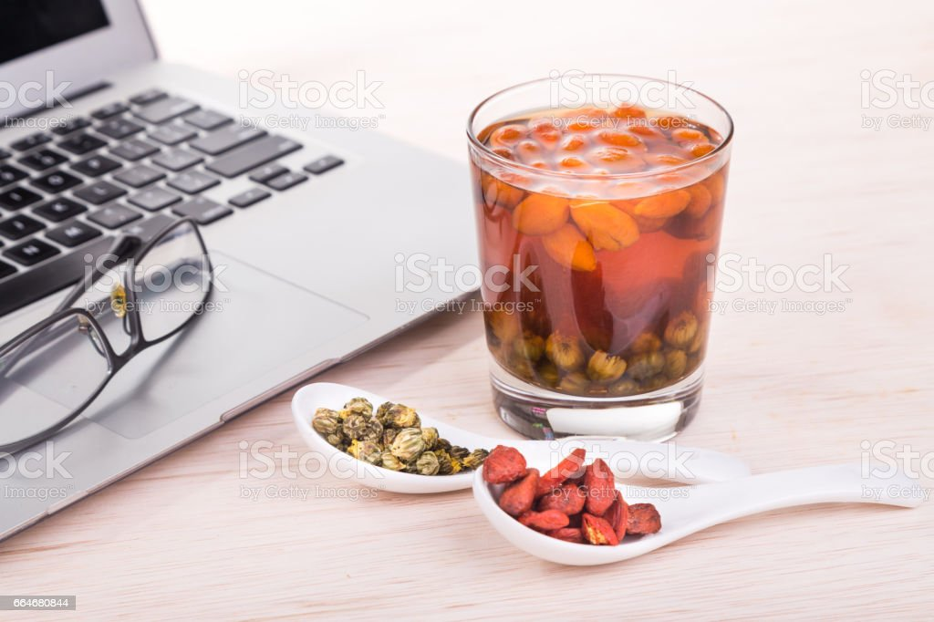 Goji Berries Or Wolfberry Chrysanthemum Tea Remedy To Improve Eyesight Stock Photo Download Image Now Istock
