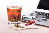 Goji berries or Wolfberry, Chrysanthemum tea is traditional Asian Chinese remedy to improve eyesight