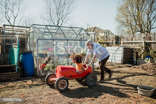 Little boy is being pushed by his grandfather in a homemade go-kart at the allotment.
