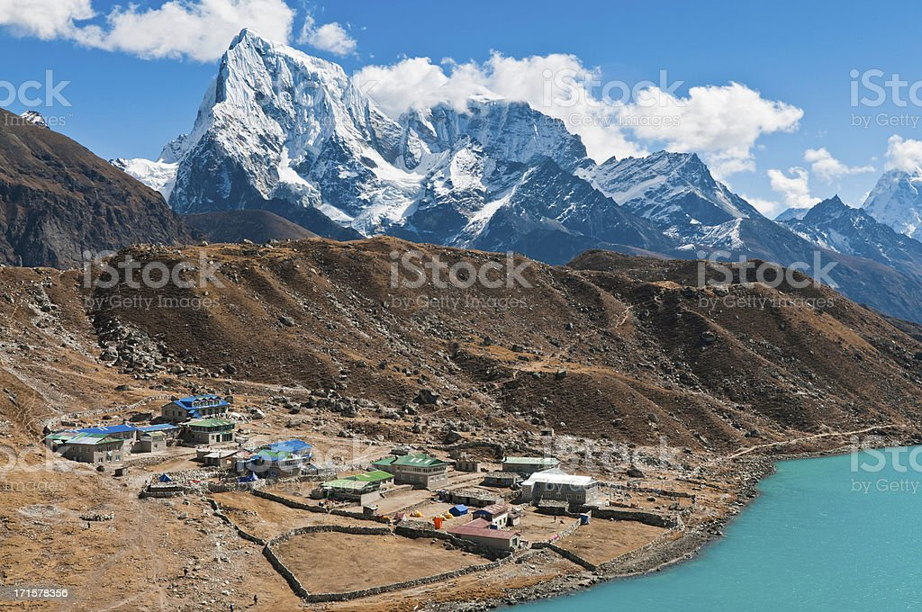 Gokyo Lake mountain lodges Sherpa teahouses snowy peaks Himalayas Nepal royalty-free stock photo